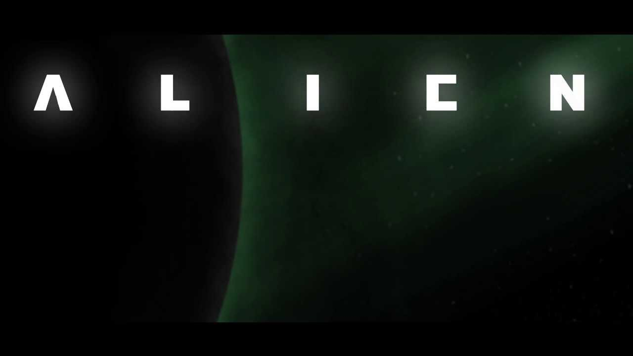 "Alien 1979 movie titles, displaying ""Alien"" with wide letter-spacing"