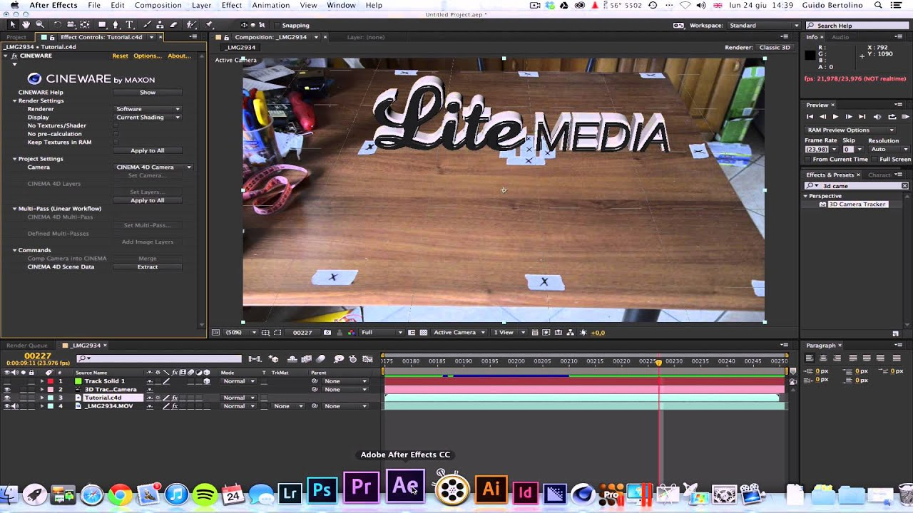 [LiTE MEDIA] After Effects CC - Cineware 3D Live Pipeline ...