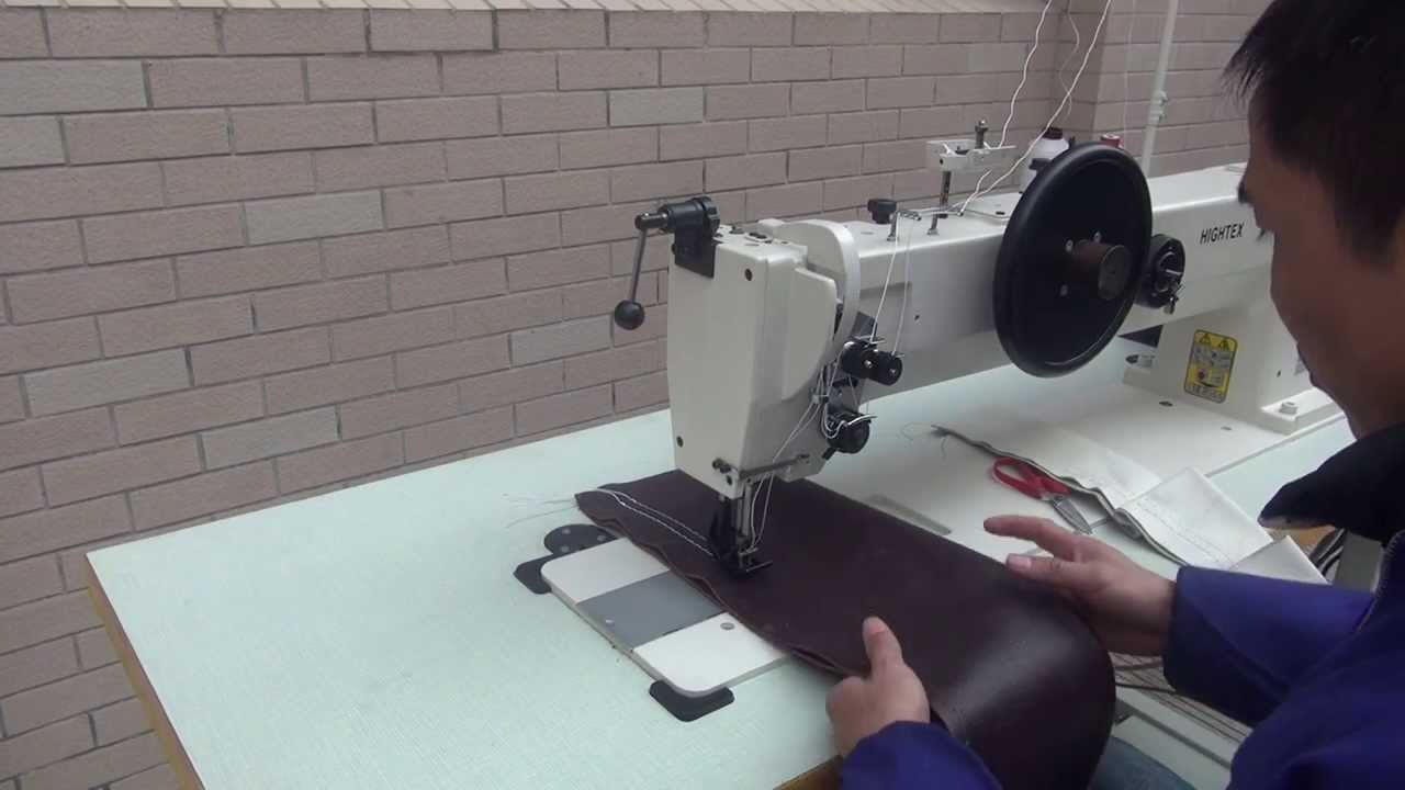 Maquina de doble aguja brazo largo triple arrastre para