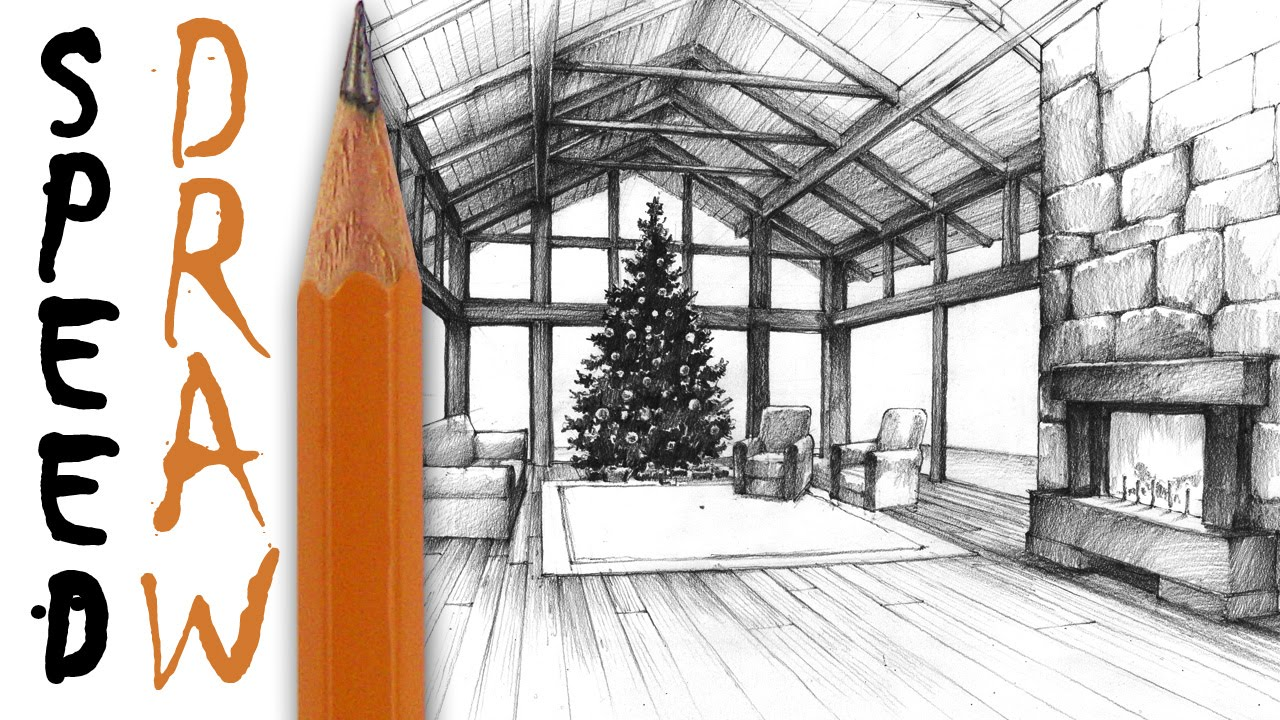 Living room in perspective speed drawing christmas - One point perspective drawing living room ...