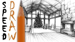 Living room in perspective - speed drawing  (+ Christmas theme)