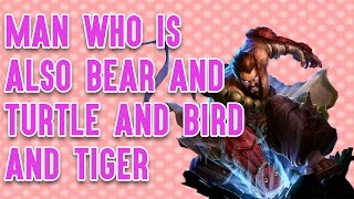 MAN WHO IS ALSO BEAR AND TURTLE AND BIRD AND TIGER thumbnail