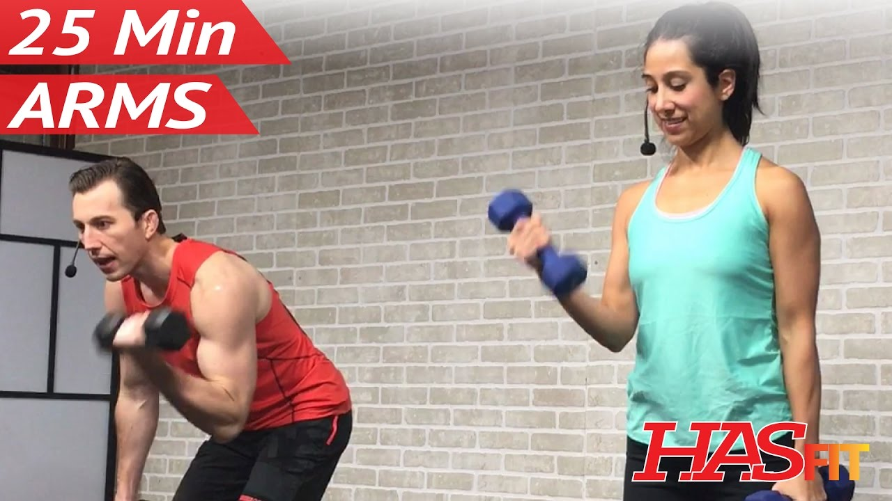 25 Min Arm Workout for Women & Men - Bicep Tricep Workout at Home Arms with Weights Dumbbells