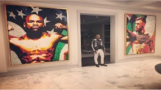 Floyd Mayweather Hangs Portrait of Conor McGregor on His Wall