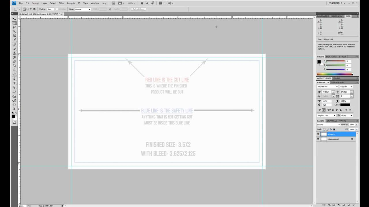 How to setup a business card with bleeds in adobe photoshop youtube magicingreecefo Images