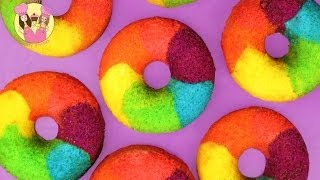 RAINBOW DONUTS - How to make rainbow cake doughnuts the easy way - yummy