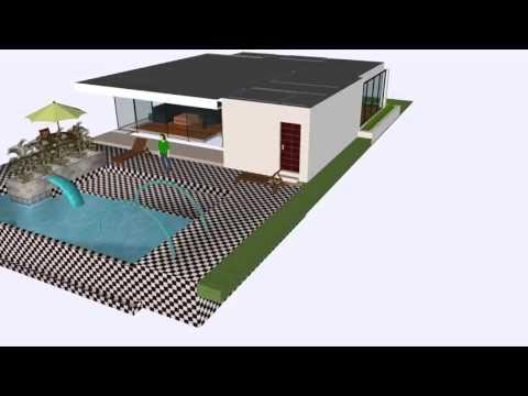 Modelo 3d casa de 1 piso con piscina youtube for Planos de casas con piscina