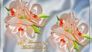 "🌷Заколка канзаши ""ВЕСЕННИЕ ЦВЕТЫ"" из ленты    Spring flowers kanzashi"