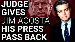 Judge Orders Jim Acosta's Press Pass RETURNED