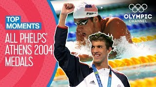 Michael Phelps - All Medal Races at Athens 2004 | Top Moments