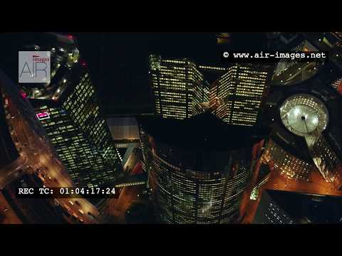 Aerial Footage by night Business District Paris La Défense / The area Société Générale