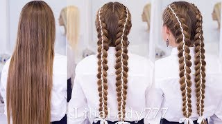 Школьные прически / Косы с лентами / School hairstyles with braids