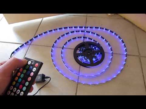 RGB LED 5050 Strip 12V 5M SMD Waterproof IP65 44 Key Remote Controller DIY Car Lights Channel