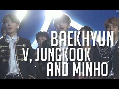 BTS V & JungKook, EXO Baekhyun and Shinee Minho Reaction to Bi Rain -  Rainism @ Golden Disc Awards
