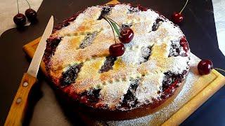 Пирог с вишней | Рецепт приготовления песочного пирога с вишнёвой начинкой