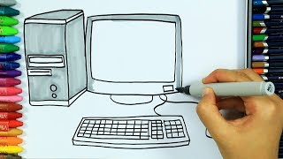 How to draw computer 🖥| Colors | Drawing | How to color | Drawing and coloring | Colors for children