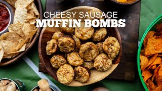 Best Game Day Appetizers | Cheesy Sausage Muffin Bombs