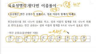 이름작명법- 육효성명학,황씨여자이름감정