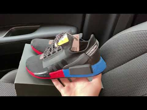 Adidas Nmd V2 Og Black Blue Red Shoes Youtube
