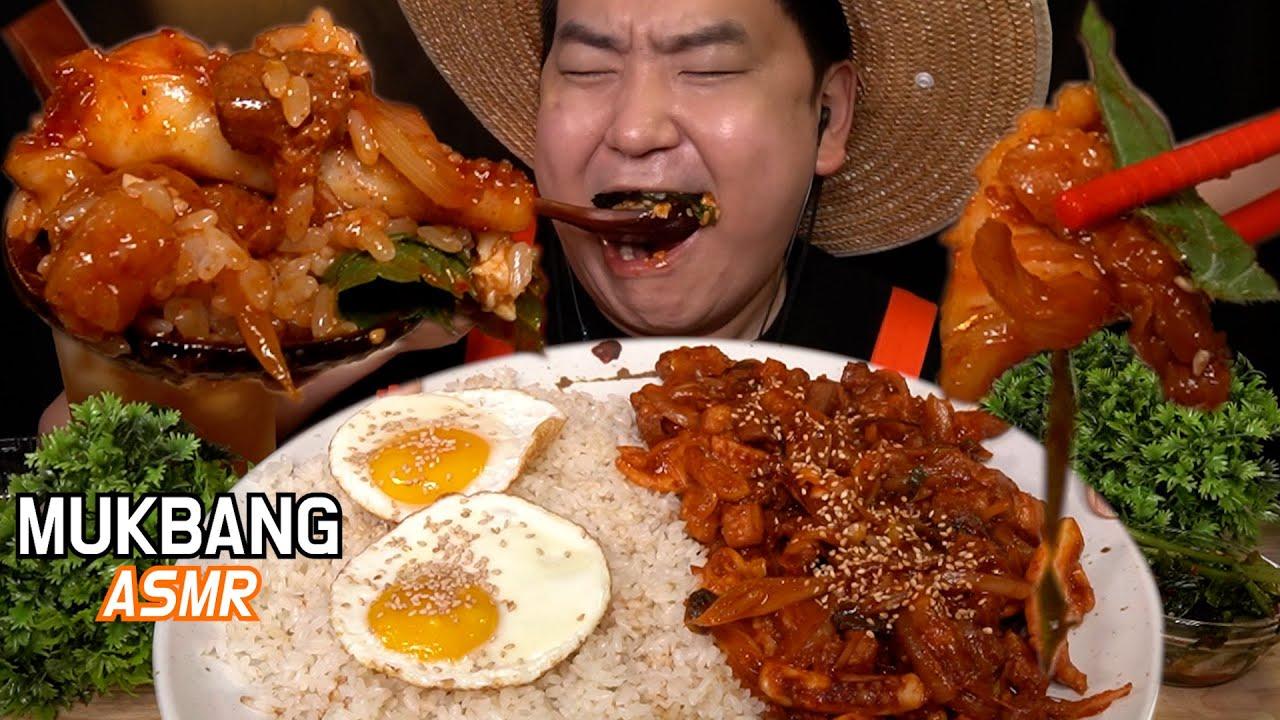 직접만든 오삼불고기 먹방 이팅사운드 ASMR Squid and Pork Belly Bulgogi (COOKING & MUKBANG) EATING SOUNDS