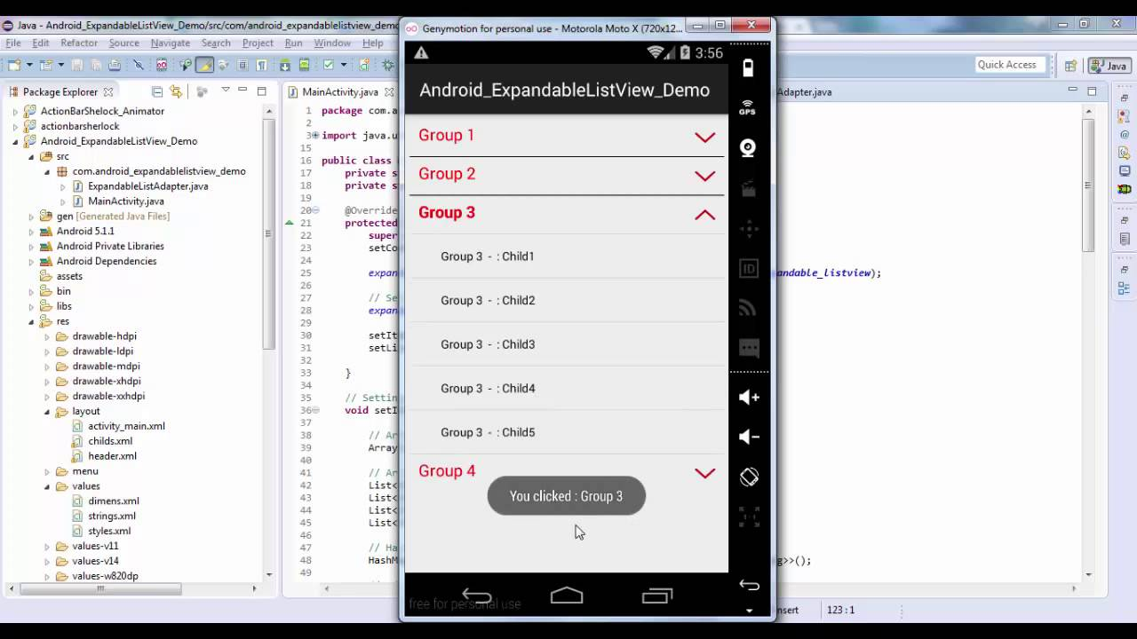 Android ExpandableListView Demo
