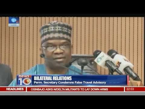 News@10: FG Reads Riot Act To Diplomatic Corps 26/08/16 Pt. 1