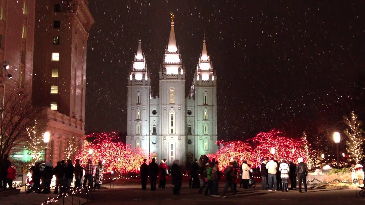 Christmas Lights and Snow at Temple Square in Salt Lake City - YouTube
