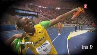 Les gestes préparatifs d'Usain Bolt avant une course   Vidéo Ina fr thumbnail