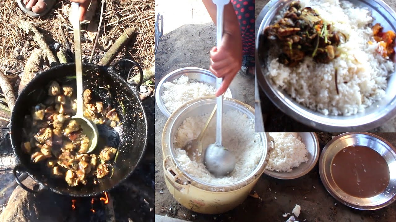 Village Mutton With Rice  || Cooking & Having ||