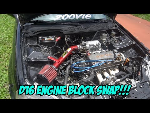 SWAPPING HONDA CIVIC ENGINE BLOCK (D16 EK COUPE)