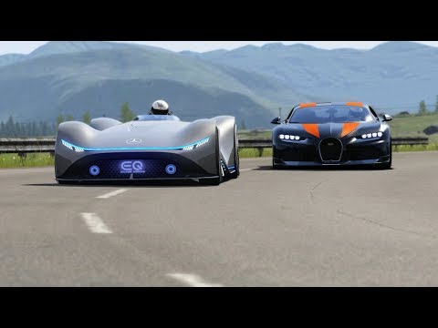 Mercedes-Benz Vision EQ Silver Arrow Concept vs Bugatti Chiron Super Sport 300+