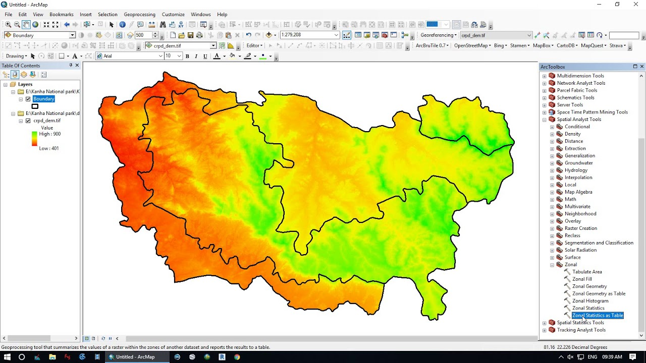 ESRI ArcGIS : Zonal Statistics || How to Extract Elevation using DEM and  Boundary Shp File