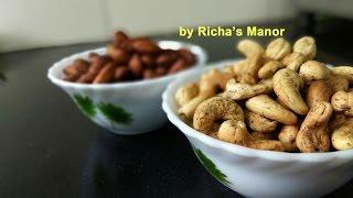 How to roast Kaju/Badam at home/ Roasted cashew/Roasted Almonds/tea time snacks/ kaju in microwave
