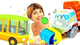 Видео для детей. Веселая Школа Капуки Кануки: Плей До и машинки. Песенка про автобус