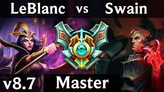 LEBLANC vs SWAIN (MID) ~ Legendary, KDA 16/1/7 ~ Korea Master ~ Patch 8.7
