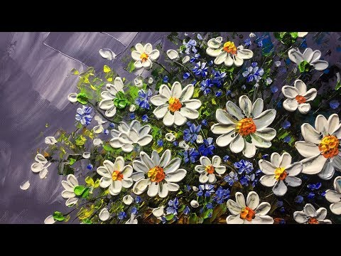 Beautiful flowers in basket with Palette Knife