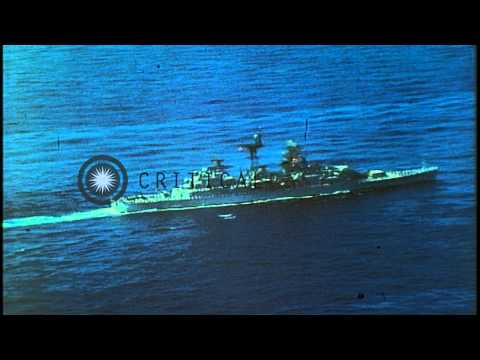 USS Little Rock proceeds between a column of ships of the 6th Naval Fleet in the ...HD Stock Footage