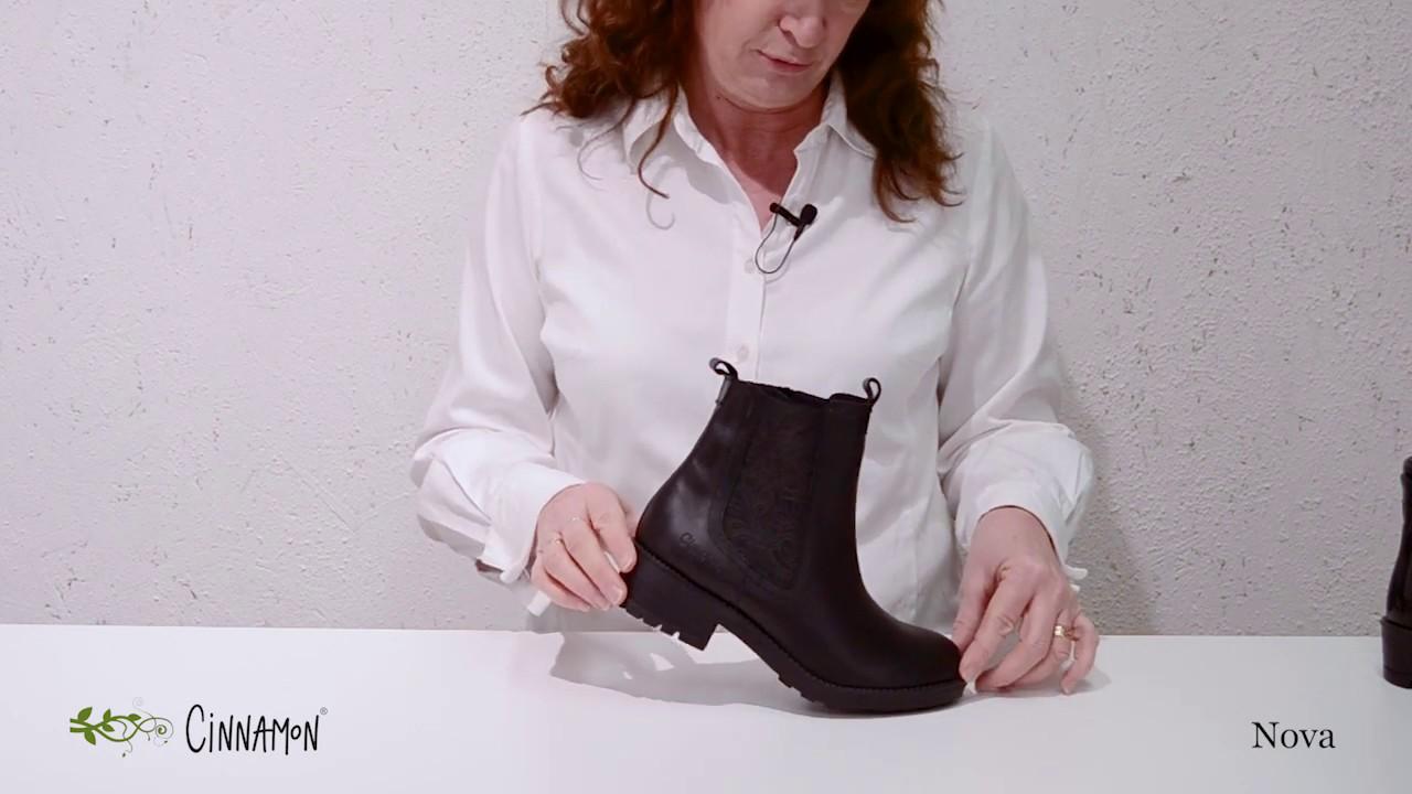 Nora brun känga med mönstrat resår och blixtlås