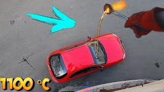 Was passiert wenn man 1100 Grad Glühende Lava auf ein Auto gießt ?