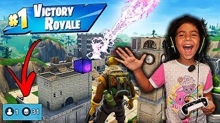 5 YEAR OLD LITTLE SISTER LANDS IN TILTED TOWERS AND GETS A VICTORY ROYALE IN FORTNITE! (NINJA PLAYS)