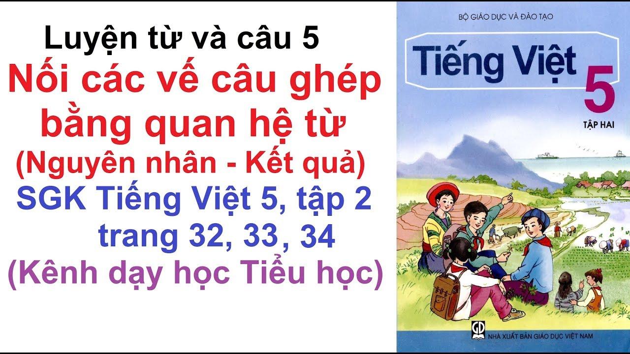 Luyện từ và câu lớp 5 tuần 21 - Nối các nối các vế câu ghép bằng quan hệ từ - Trang 32, 33, 34