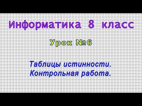 Информатика 8 класс (Урок№6 - Таблицы истинности. Контрольная работа.)