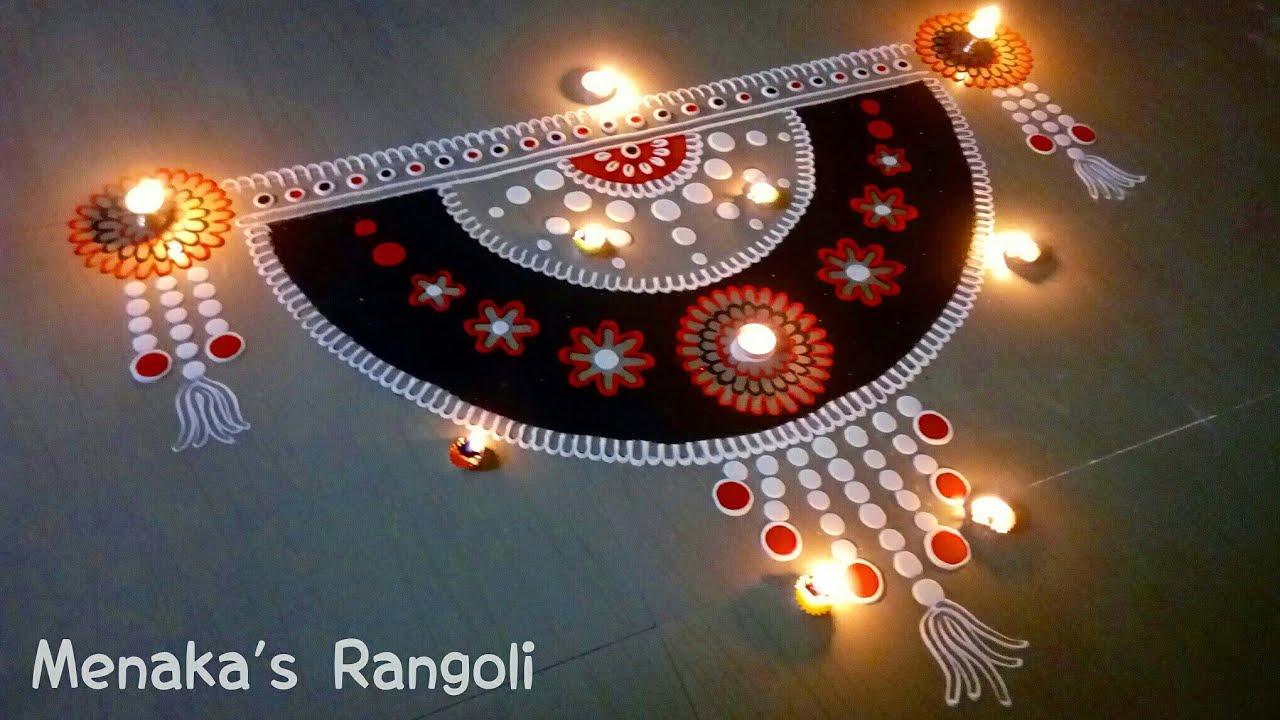Door rangoli design door kolam design door muggu youtube for Door rangoli design images new