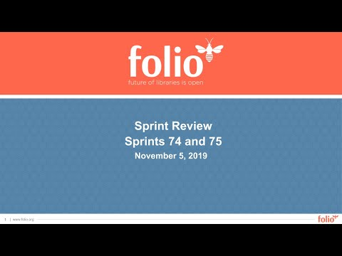 FOLIO Sprint Review 74 -75