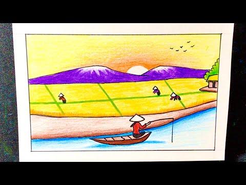 Vẽ tranh đề tài CUỘC SỐNG QUANH EM   how to draw easy scenery