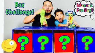 What's in the Box Challenge Mason vs Daddy!!!!!