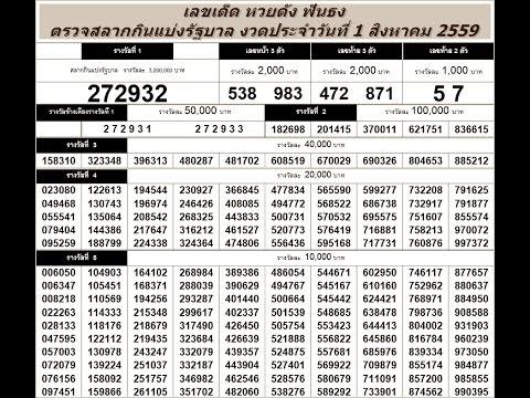 ตรวจหวย 1/8/59 ตรวจสลากกินแบ่งรัฐบาล วันที่ 1 สิงหาคม 2559