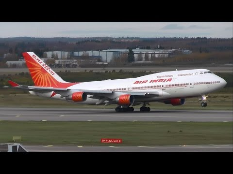 Air India Boeing 747-400 takeoff at Helsinki Airport! Indian president on board | VT-EVA | HD