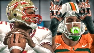 battling jameis winston 5 fsu vs 4 miami ncaa 14 road to glory gameplay ep 25