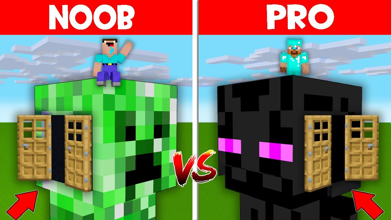 Minecraft NOOB vs PRO: NOOB FOUND WHAT HIDDEN INSIDE THIS CREEPER HEAD BLOCK BASE! (Animation)